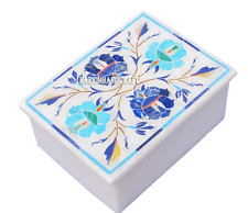 """4""""x3""""x2"""" Marble Jewelry Storage Box Mosaic Marquetry Inlaid Decor Gifts H2737"""