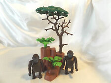 Playmobil Silverback Gorilla Pair w/ Tree Landscape for Safari, Zoo, Ark Animals