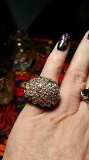 Big Rhinestone and Black Onyx  Cocktail Ring size 6
