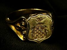 SUPERB UNUSUAL ANTIQUE VICTORIAN ENGLISH 15K GOLD SEAL SIGNET POISON LOCKET RING