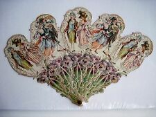 Gorgeous Vintage Victorian Fan w/ Stunning Embossed Figures w/ Pansies  *