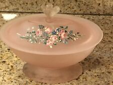 TAUSSAUNT GLASS Pink Satin Powder Jar With Handpainted Flowers