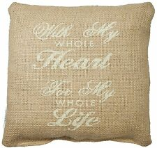 """WITH MY WHOLE HEART, FOR MY WHOLE LIFE Small Burlap Pillow - 8"""" x 8"""""""