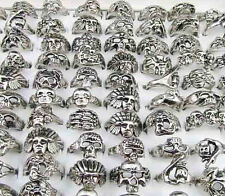 Lots Fashion 100Pcs Mixed Death Head Metal Rings