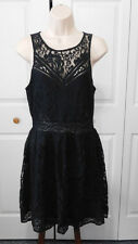 KIMCHI BLUE Women's Black Lace Part Lined Exposed Zipper Fit  Flare Dress Size M