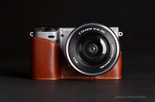 Handmade Brown Genuine real Leather Half Camera Case Bag for Sony NEX5T NEX5R