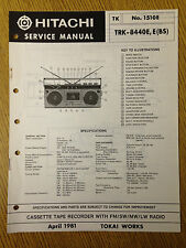 Hitachi TRK-8440E Service Manual Radio Cassette Tape Recorder Vintage HiFi 80's