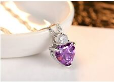 Sterling Silver Amethyst Red Garnet Heart Crystal Pendant Necklace Gift Box B2