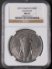 Gabon 2012 African Wildlife Elephant 1000Francs Silver Antique Finish NGC MS67