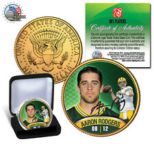 "AARON RODGERS ""GREEN BAY PACKERS"" 24KT GOLD JFK HALF DOLLAR! SIGNATURE COIN!"