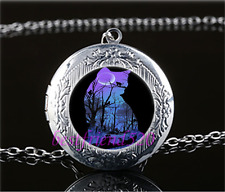 Night Black Cat Photo Cabochon Glass Tibet Silver Locket Pendant Necklace#JB8