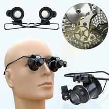 LED 20X Magnifier Magnifying Dual Eye Glasses Loupe Lens Jeweler Watch Repair E8