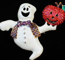 RHINESTONE HAPPY HALLOWEEN JACK O LANTERN FUN FLYING GHOST PIN BROOCH JEWELRY 2+