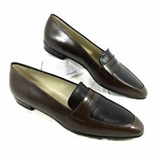 NEW Bally Brown & Black leather Penny Loafers Sz 8 Narrow