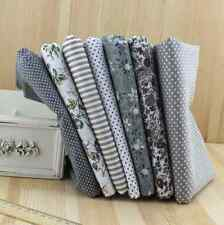 NEW 7 pcs BUNDLE grey COTTON FABRIC/MATERIAL stripe dots  Quilting Crafts