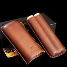 COHIBA Brown Real Leather Cigar Case Holder 2 Tube