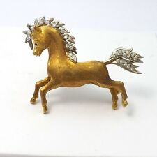 Vintage 18k Two Tone Gold Diamond Ruby Wild Running Horse Brooch Pin 14.9 gr