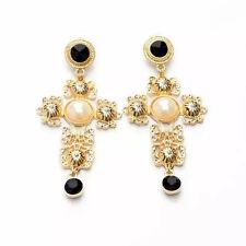 New Women Golden Cross Faux Pearl Black Bead Earrings Ear Drop Dangle Jewelry