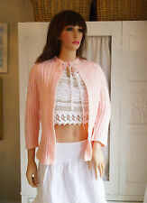 NEW HAND KNITTED SOFT PEACH PINK CARDIGAN vintage style BED JACKET   size 8-10