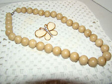 Butterfly Brooch and Brown Beaded Necklace - Used - Booch is Cream Colored