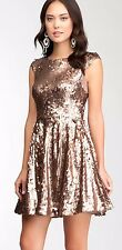 NWT bebe brown copper overall all sequin low v back flare top dress party Small