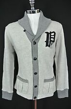 "$165 Polo Ralph Lauren Fleece Gothic ""P"" Cardigan GRAY HEATHER Sz MEDIUM NWT"