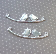 10 pcs Silver connector with 2 birds