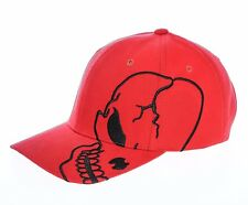 Red Black Skull Skateboard Biker Halloween Costume Gothic Goth Baseball Cap Hat