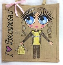 Personalised Handpainted Brownies Girl In Uniform Jute Handbag Hand Bag Gift