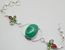 Malachite .925 Starling Silver Plated Handmade Jewelry Lovely Bracelet 17 Gm