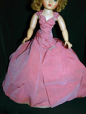 Vintage 1950s Madame Alexander Cissy Doll Tagged PINK Side Drape Gown Dress
