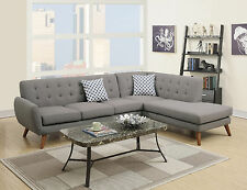 Modern Grey Fabric Sectional Sofa Couch Loveseat Wedge Retro Classic