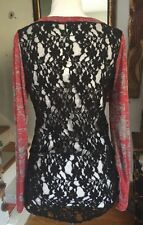 Daytrip THE BUCKLE TOP SHIRT LARGE Semi Sheer Lace Back Lightweight Henley NWT