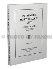 Plymouth Master Parts Book 1928 1929 1930 1931 1932 1933 Illustrated Catalog