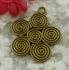 free ship 22 pieces bronze plated flower pendant 35x30mm #2219