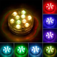 RGB 10-LED Submersible Waterproof Birthday Wedding Party Light Remote Control UL