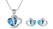 Sterling Silver Heart Cut Blue Topaz Gemstone Pendant Necklace Earrings Set Gift