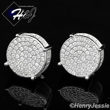 MEN 925 STERLING SILVER ROUND 13MM LAB DIAMOND ICED OUT BLING STUD EARRING*E56