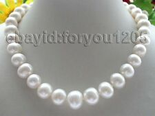 """17.5"""" Genuine Natural 13-16mm White Round Pearl Necklace 9k #f870!"""