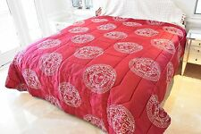 Versace Home Silk Red Silver Medusa Head Queen Comforter 105 x 108 w/ Bag