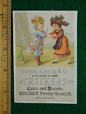 1870s-80s Godfrey Keebler & Co. Crackers Cakes & Biscuts Girls Shopping Card F17