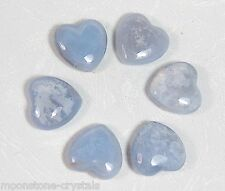 BLUE LACE AGATE HEART, 2.5 mm, Reiki Energy Charged - Chakra Healing, Calming
