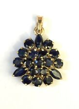 14k Solid Yellow Gold Cluster Flower Handmade Pendant, Natural Sapphire 3TCW