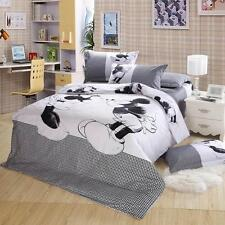 Black White Cartoon Mickey Mouse King Queen Size Cotton Cover Bedset Full Sets