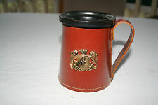 Dante Beer Stein Leather? with Handle and Pottery Insert Coat of Arms