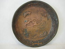 ANTIQUE CHINESE HAND MADE BRONZE COPPER DRAGON, FISH, GECKO, SCORPION BOWL DISH
