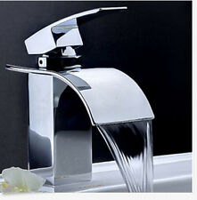 Waterfall Bathroom Basin Faucet Single Handle Hole Square Vanity Sink Mixer Tap