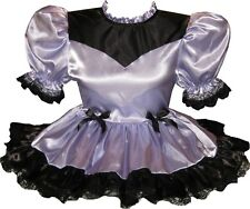 """Amelia"" Custom Fit Black Lilac SATIN Adult Baby Little Girl Sissy Dress LEANNE"