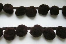 Brown Extra Big Pompom Ball Fringe Trim Braid Embroidered Costume Curtain Sewing