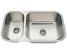 3218BR Offset Double Bowl Undermount Stainless Steel Sink